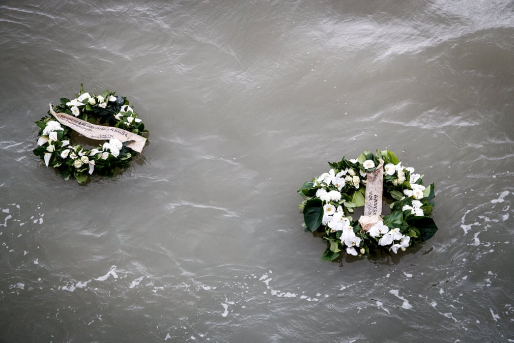 Zeebrugge Belgium Wreaths Thrown In To The Sea During A Ceremony Marking 30th Anniversary Of Herald Free Enterprise Ferry Disaster That
